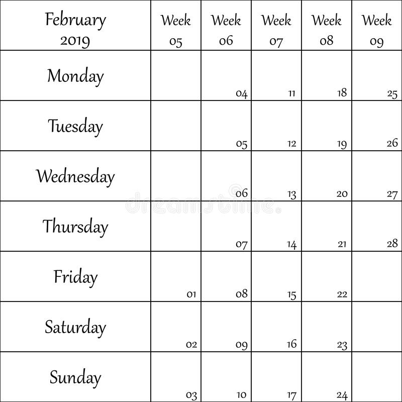2019年2月与数字的计划者月微弱的其中每一的 向量例证