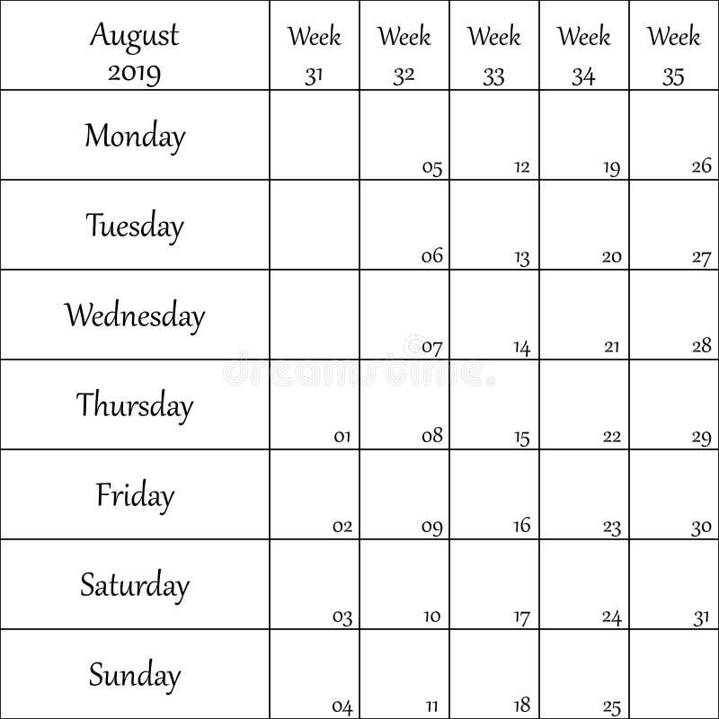 2019年8月与数字的计划者月微弱的其中每一的 库存例证