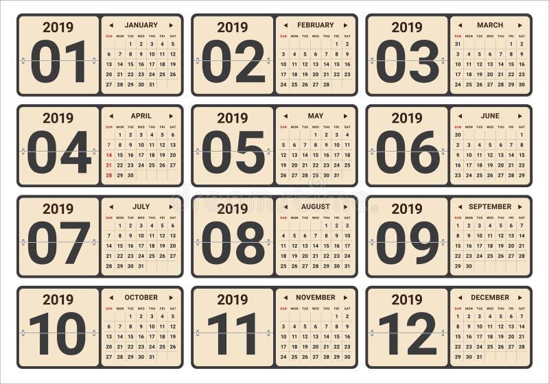 年2019月度日历传染媒介例证 免版税库存照片
