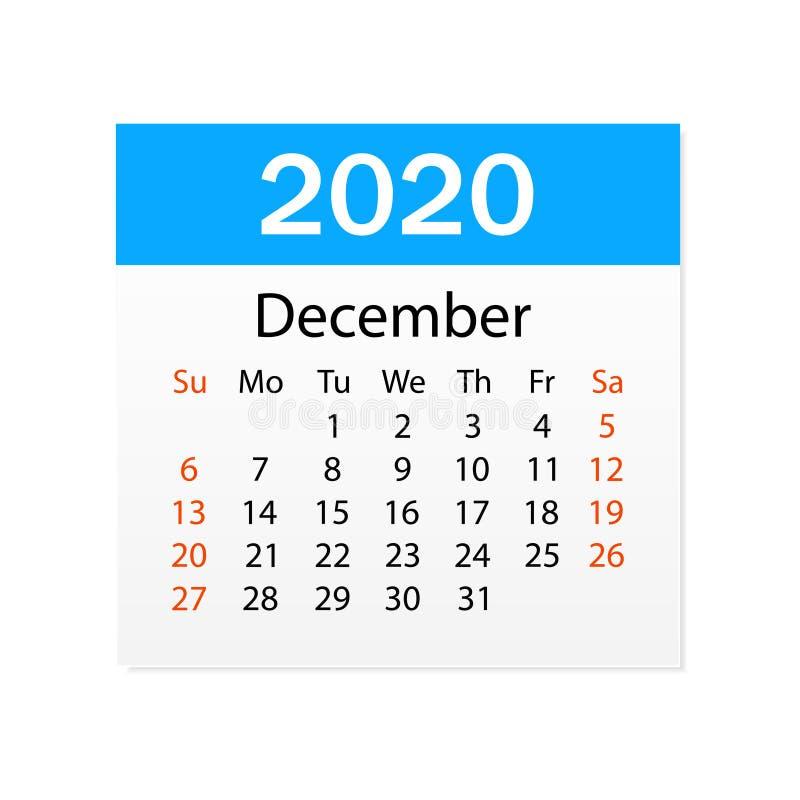 2020年12月日历  个人组织者 撕掉日历 o r 向量例证