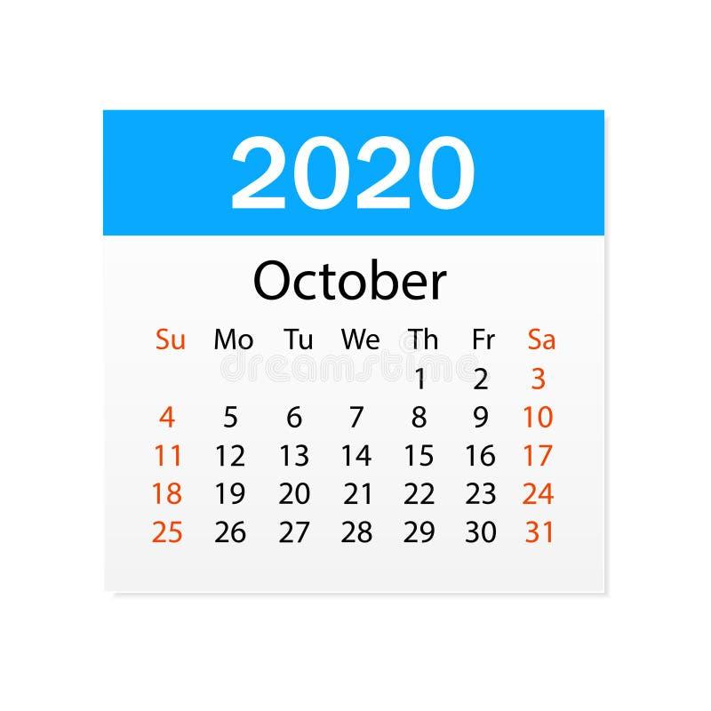 2020年10月日历  个人组织者 撕掉日历 o r 向量例证