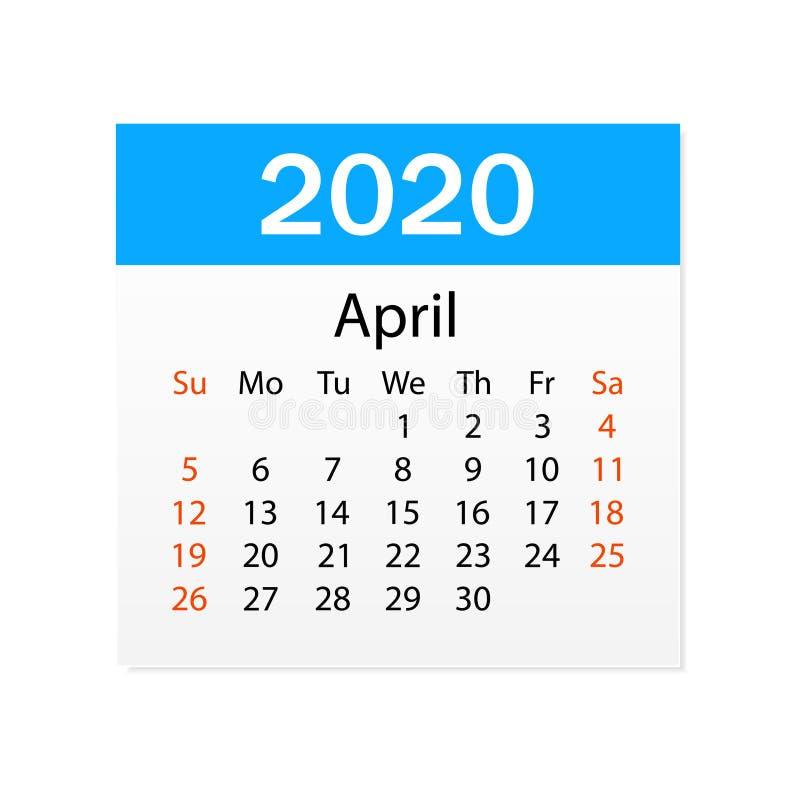 2020年4月日历  个人组织者 撕掉日历 o r 向量例证