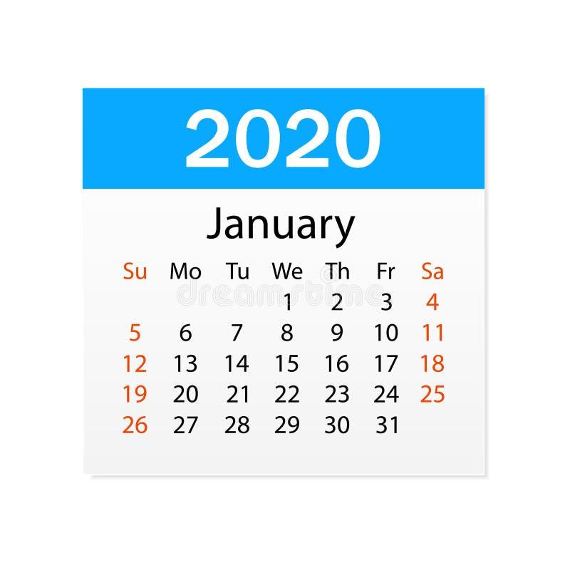 2020年1月日历  个人组织者 撕掉日历 o r 向量例证