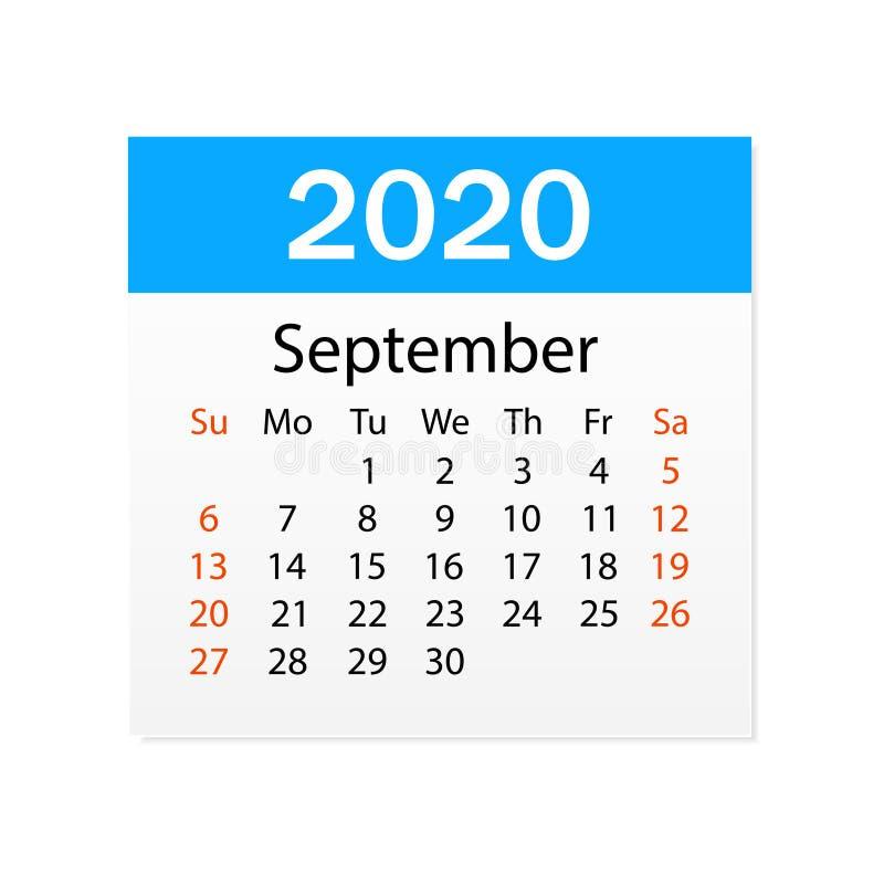 2020年9月日历  个人组织者 撕掉日历 o r 库存例证