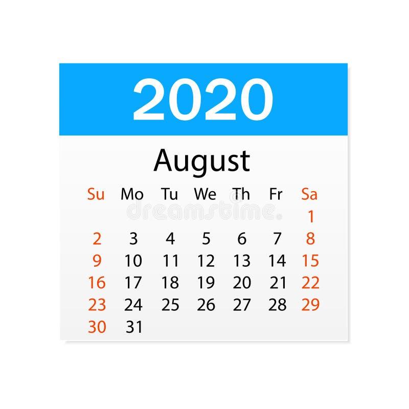 2020年8月日历  个人组织者 撕掉日历 o r 向量例证