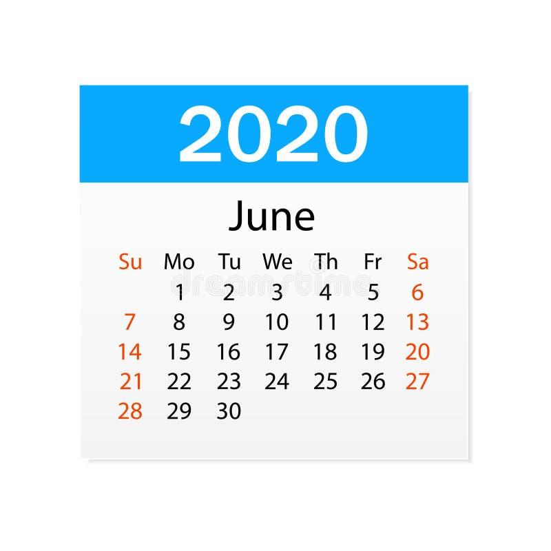 2020年6月日历  个人组织者 撕掉日历 o r 向量例证