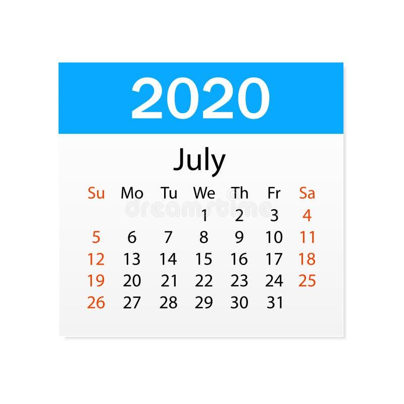 2020年7月日历  个人组织者 撕掉日历 o r 向量例证