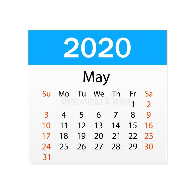 2020年5月日历  个人组织者 撕掉日历 o r 皇族释放例证