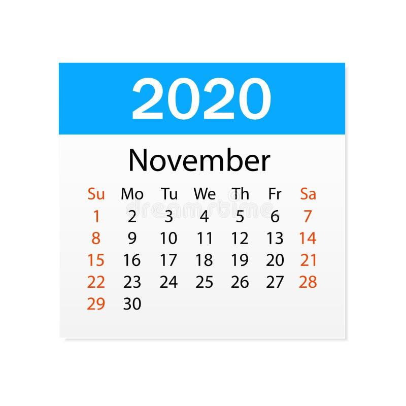 2020年11月日历  个人组织者 撕掉日历 o r 向量例证