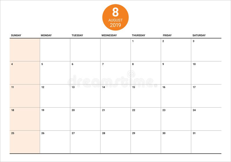 2019年8月桌面日历传染媒介例证. 计划, 设计.图片