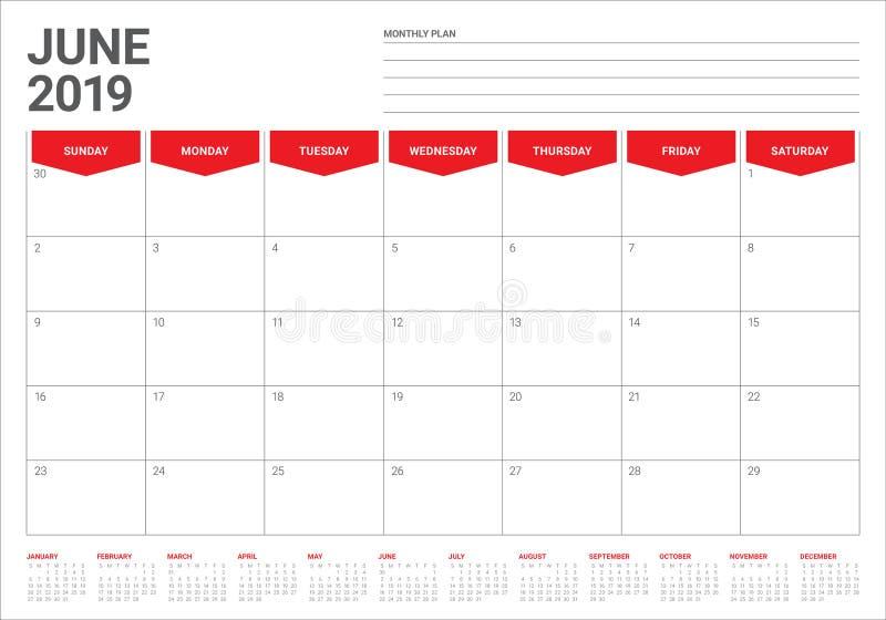 2019年6月桌面日历传染媒介例证. 向量, 计划.图片