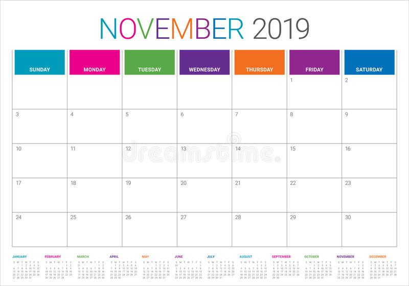 2019年11月桌面日历传染媒介例证. 例证, 模板.图片