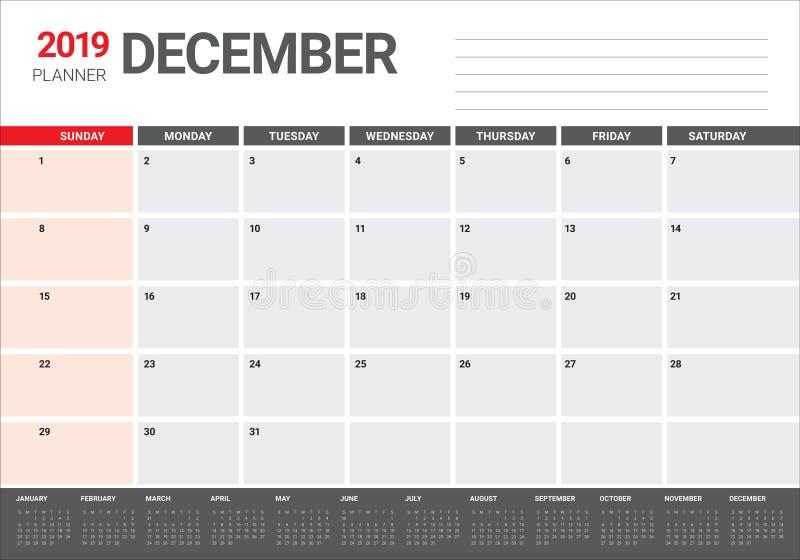 2019年12月桌面日历传染媒介例证. 计划程序, 12月.图片
