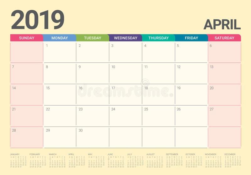2019年4月桌面日历传染媒介例证.图片