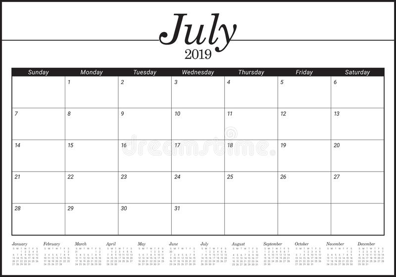 2019年7月桌面日历传染媒介例证. 月度, 7月.图片