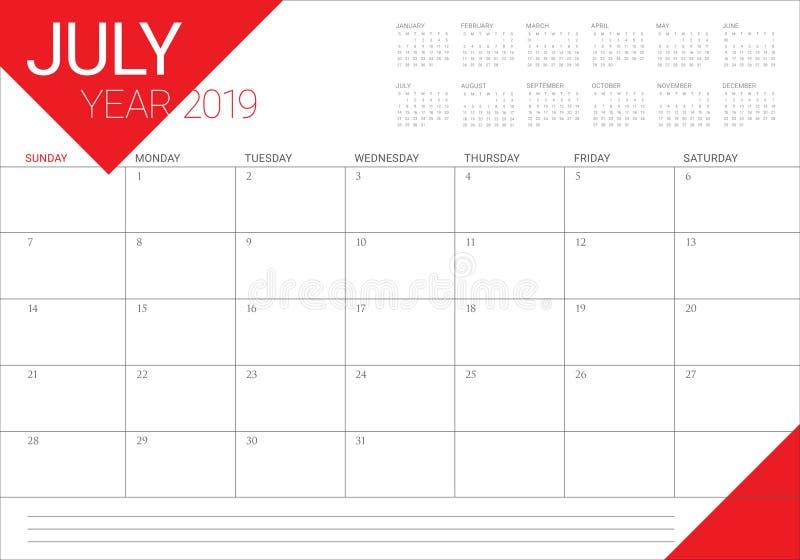2019年7月桌面日历传染媒介例证.图片