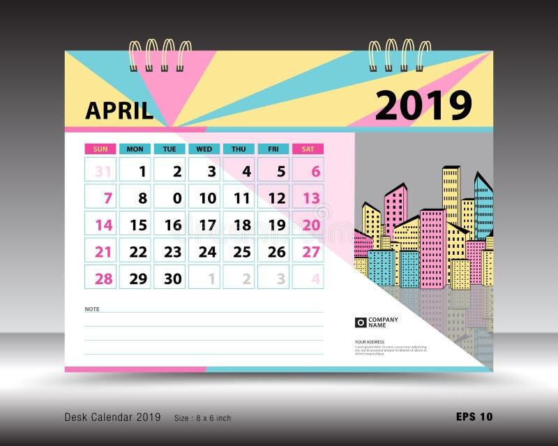 2019年4月模板的桌面日历,可印的日历,计划者设计模板图片