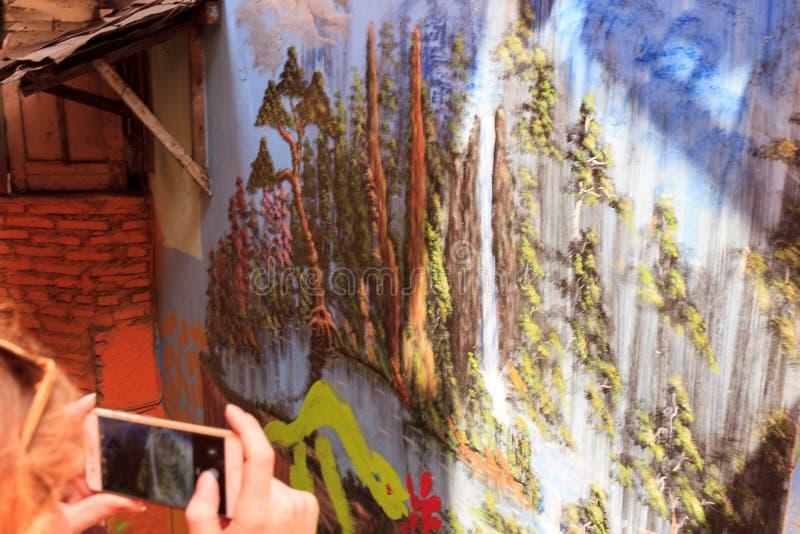 2018年9月街道艺术在Kampung Warna Warni Jodipan玛琅,印度尼西亚 免版税图库摄影