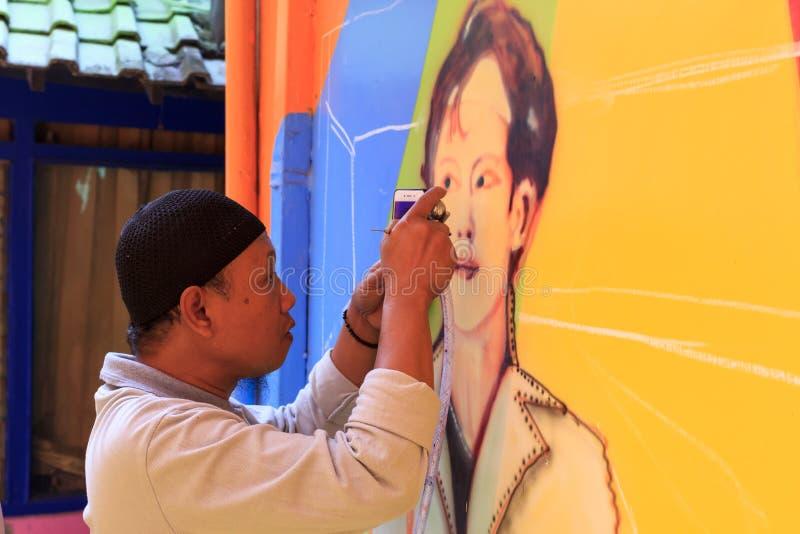2018年9月街道艺术在Kampung Warna Warni Jodipan玛琅,印度尼西亚 库存照片