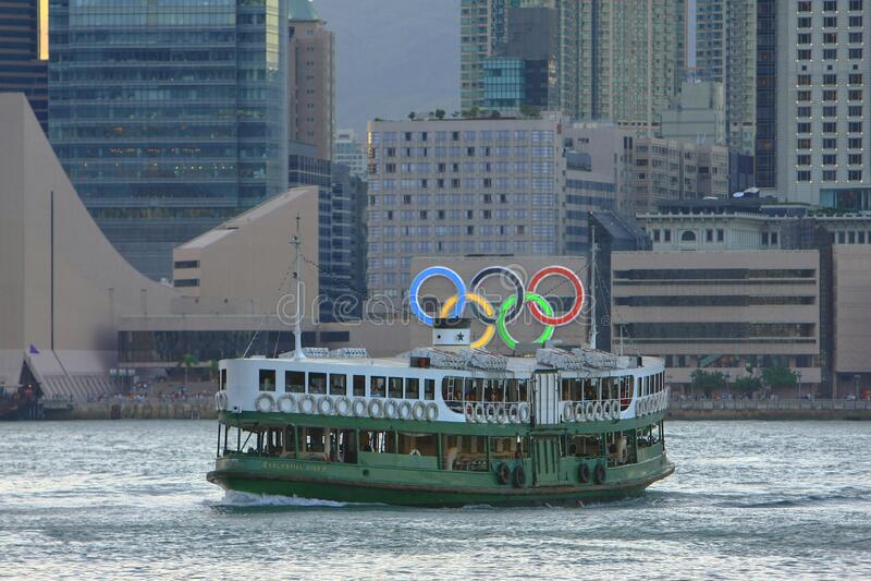 2008年8月23日位于2008年奥运会纪念碑香港之间 库存照片