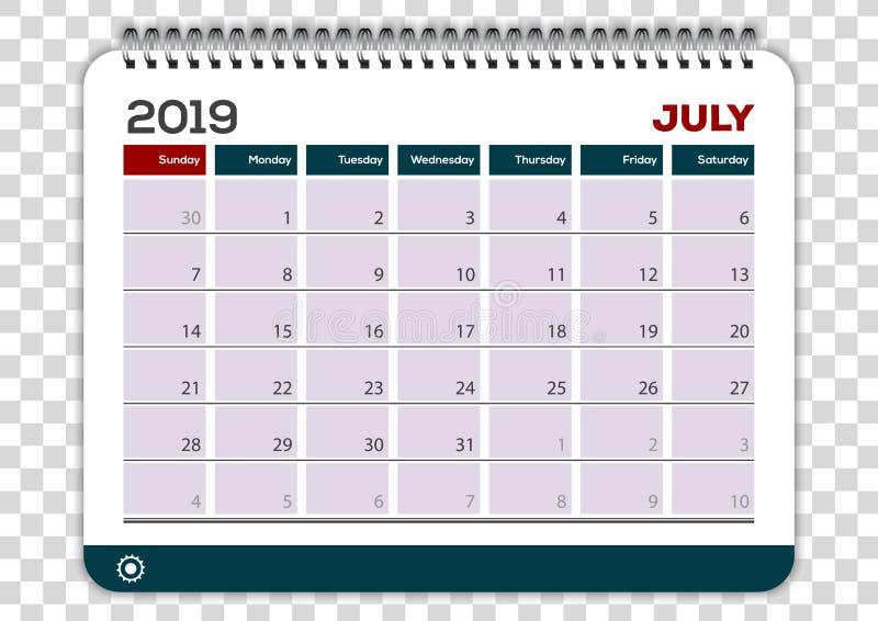 2019年7月 日历计划者设计模板图片