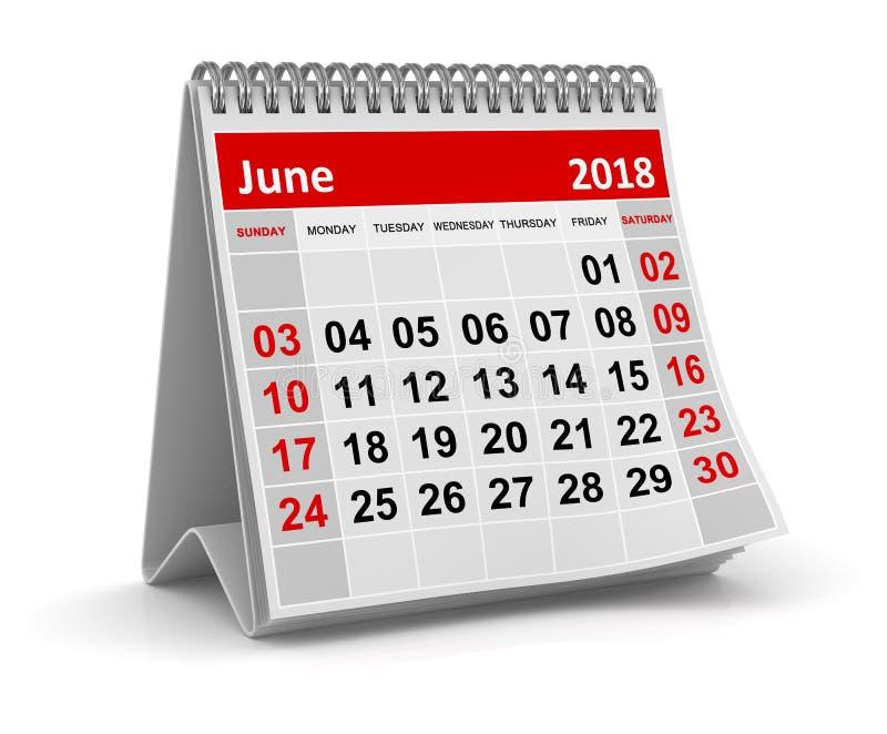 2018年6月-日历 向量例证