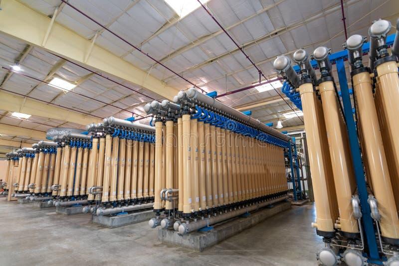 2019年6月20日圣荷西/加州/美国-微滤清系统在位于南的硅谷先进的水净化中心 图库摄影