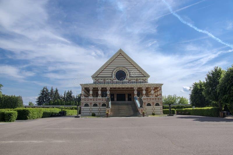 2017年6月3日在艺术装饰样式修建的Pardubice火葬场历史建筑 免版税库存图片