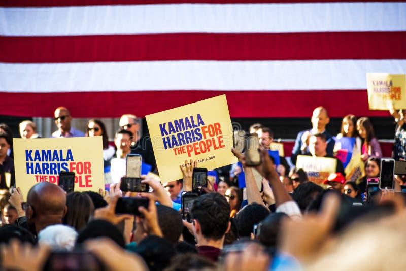2019年1月27日奥克兰/加州/美国-'在卡玛拉哈里斯的人民的卡玛拉哈里斯'标志Campaign Launch拉尔总统的 库存图片