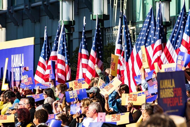 2019年1月27日奥克兰/加州/美国-卡玛拉的哈里斯参加者Campaign Launch Rally总统的 库存照片