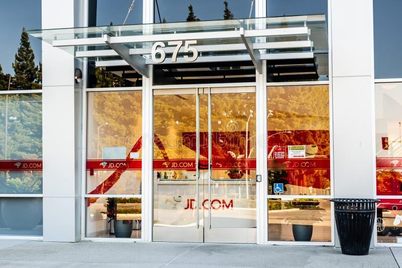 2019年6月22日山景城/加州/美国-对JD的入口 com办公室在硅谷;JD com,亦称京东和以前 图库摄影