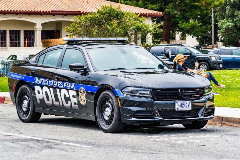 2019年8月10日旧金山/加州/美国-美国公园提供安全的警察小分队在一个公开事件以为基础 免版税图库摄影