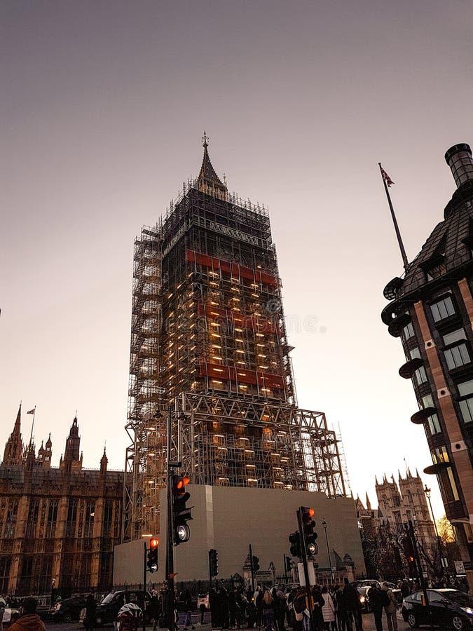 2017年12月28日,伦敦,英国-做对大本钟时钟的改造工程 库存照片