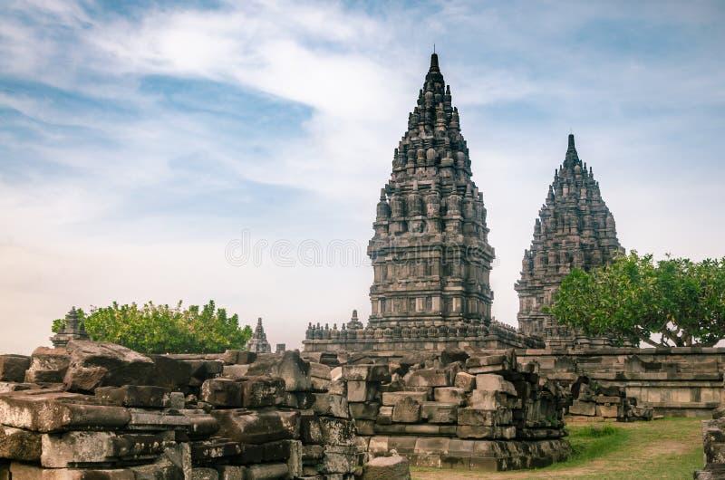 2019年12月26日,在印度尼西亚日惹的Prambanan Temple寺 库存照片