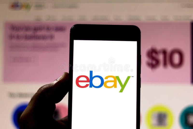 2019年4月15日,巴西 移动设备上的EBay徽标 eBay是美国的一家电子商务公司 图库摄影