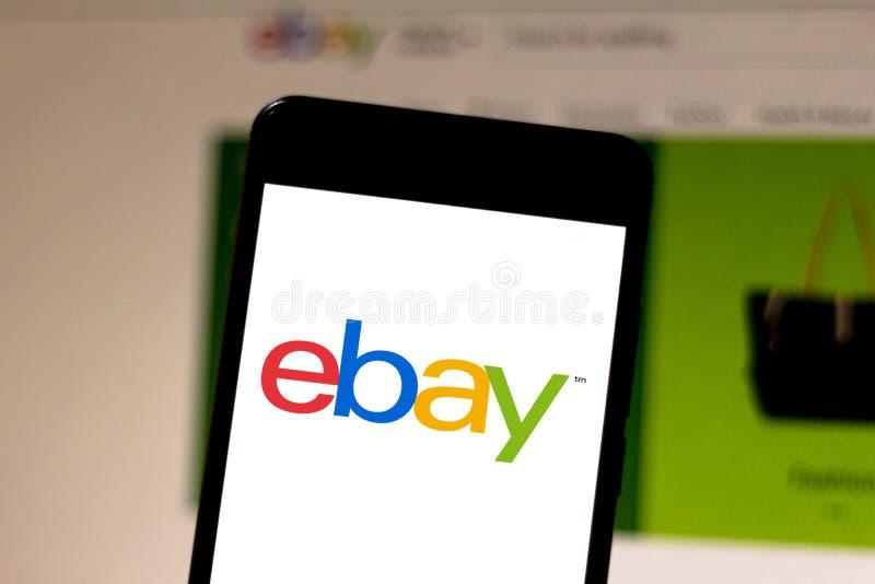 2019年4月15日,巴西 移动设备上的EBay徽标 eBay是美国的一家电子商务公司 库存图片
