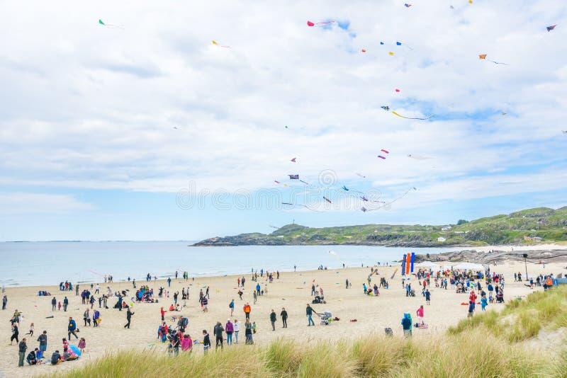 2016年6月12日,斯塔万格在挪威:Hellesto海滩风筝节日 免版税库存照片