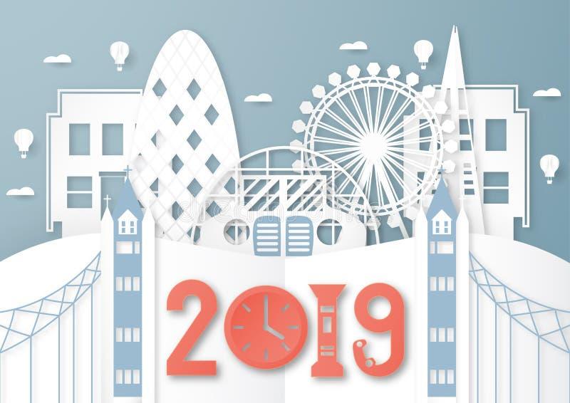 2019年4月03日:伦敦顶面著名地标和大厦旅行和游览的 传染媒介在纸裁减和工艺的例证设计 皇族释放例证