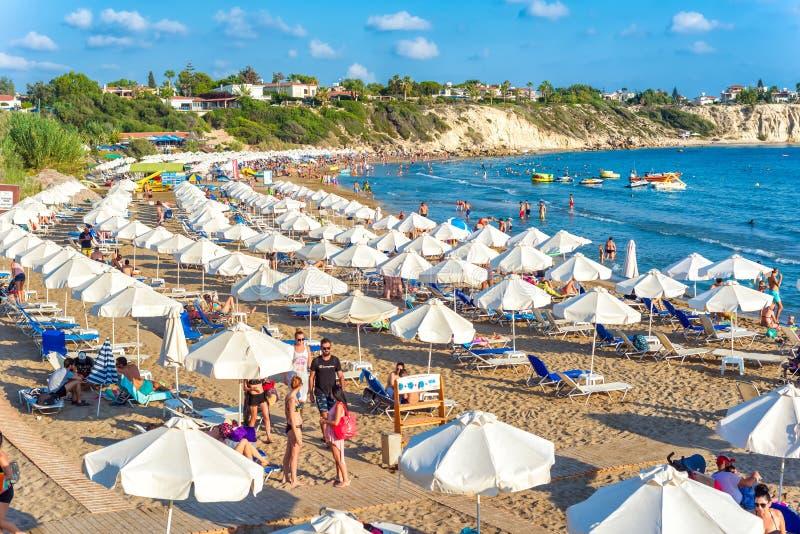 2017年8月20日:塞浦路斯岛珊瑚湾海滩 免版税库存图片