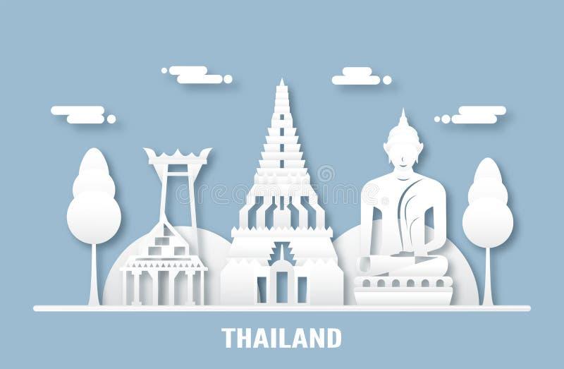 2019年4月03日:泰国国家顶面著名地标和大厦旅行和游览的 传染媒介在纸裁减的例证设计 库存例证