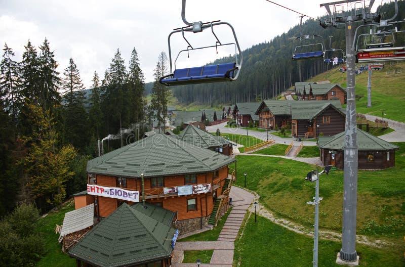 2014年9月15日-在Bukovel滑雪场的看法在夏天,乌克兰 免版税图库摄影