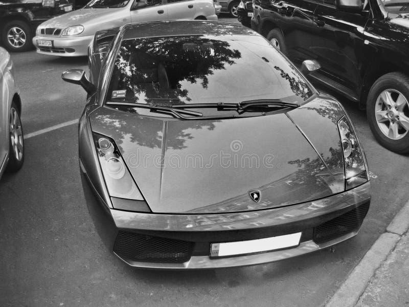2010年8月6日 基辅,乌克兰 Lamborghini Gallardo 北京,中国黑白照片 免版税库存图片