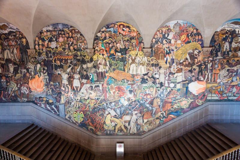 2017年1月22日 墨西哥,迭戈・里韦拉壁画壁画,全国宫殿,墨西哥城的历史 免版税图库摄影