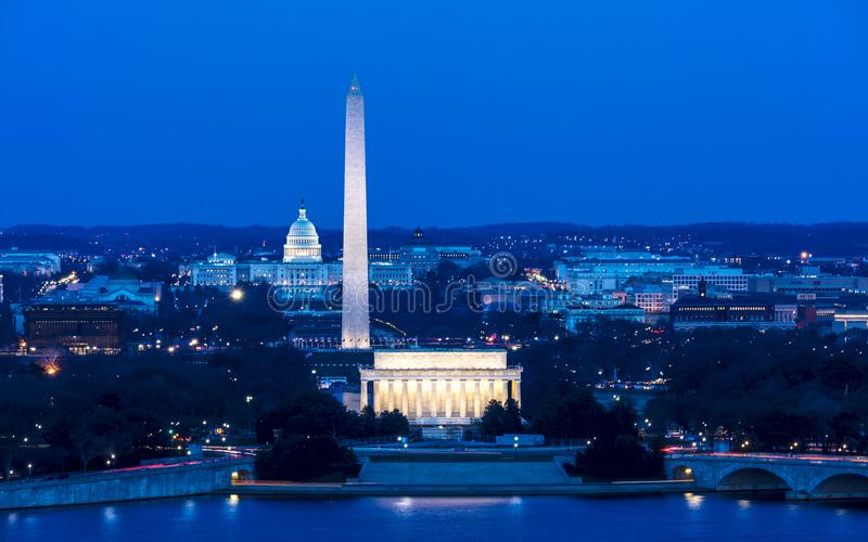 2018年3月26日-阿灵顿, VA -洗涤D C - 华盛顿D鸟瞰图  C 从镇上面  美国,全国 图库摄影