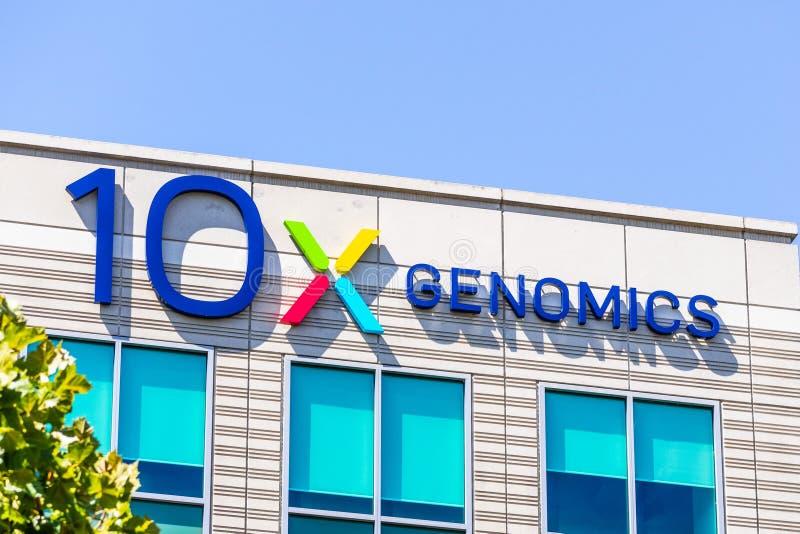 2019年8月25日Pleasanton / CA /美国 — 10x Genomics公司位于硅谷总部;10x基因公司是美国的生物技术 免版税库存照片