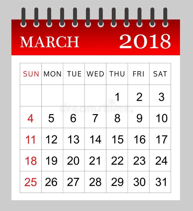 2018年3月-月度日历 皇族释放例证