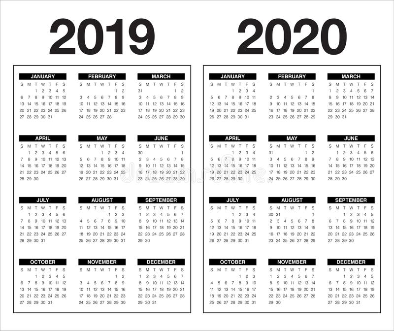 年2019 2020本日历传染媒介设计模板 向量例证