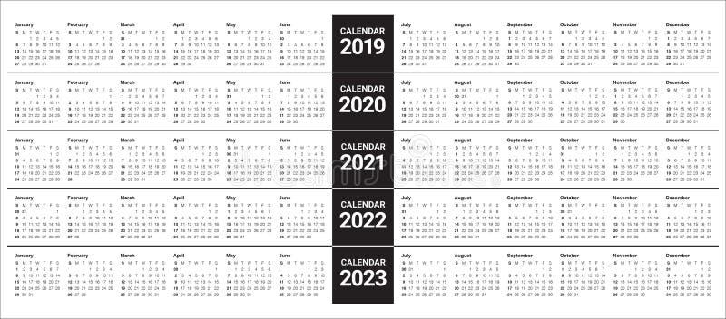 年2019 2020 2021 2022 2023本日历传染媒介设计模板. 日历, 向量.