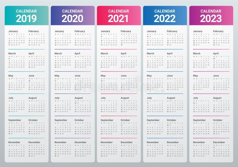 年2019 2020 2021 2022 2023本日历传染媒介设计模板. 日期, 模板.