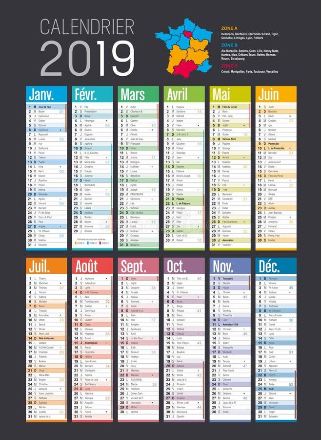 年2019法国人日历模板.图片